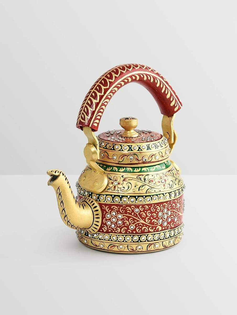 Painted Teapots Golden and Red Hand Tea Pot in Aluminium