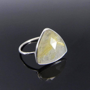 Rings Golden Rutile Trillion Gemstone Silver Bezel Ring - Yellow Stone - Handmade Jewelry