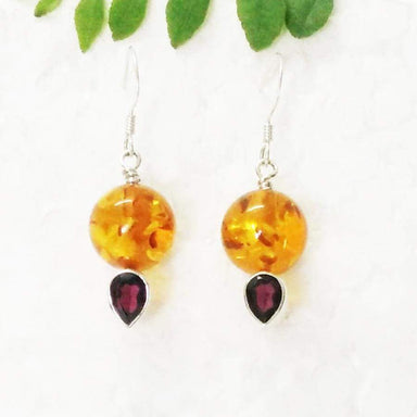 Earrings Gorgeous BALTIC AMBER / RED GARNET Gemstone Birthstone 925 Sterling Silver Fashion Handmade Dangle Gift