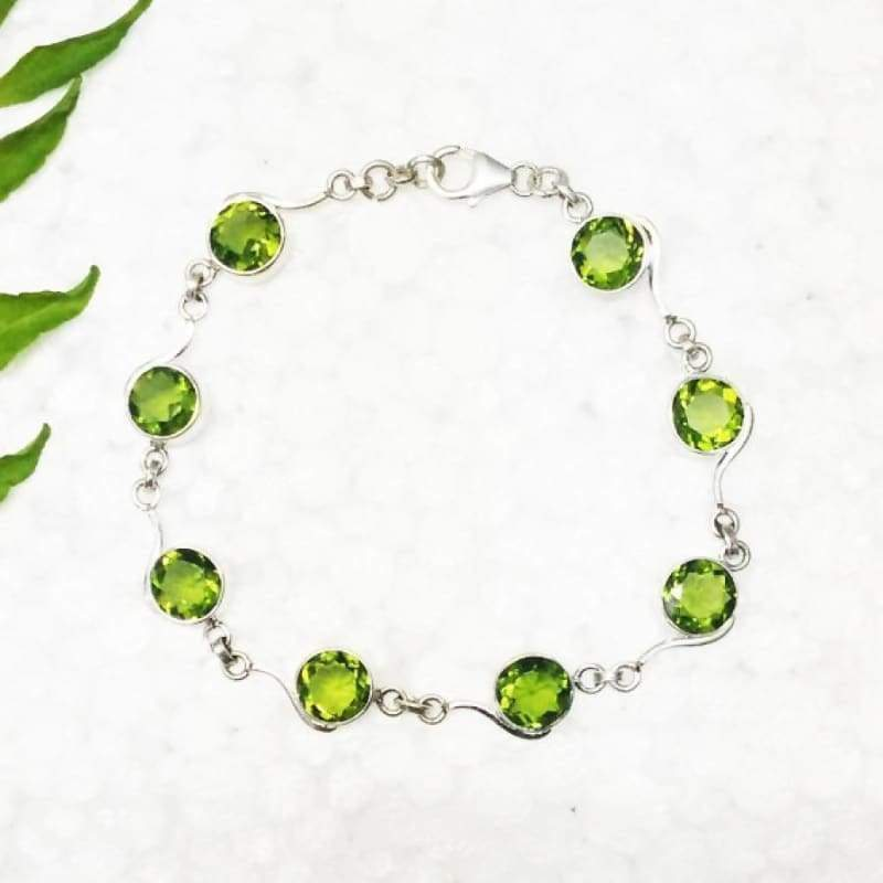 Gorgeous GREEN PERIDOT Gemstone Bracelet Birthstone Bracelet 925 Sterling Silver Bracelet Fashion Handmade Bracelet Adjustable Size Gift