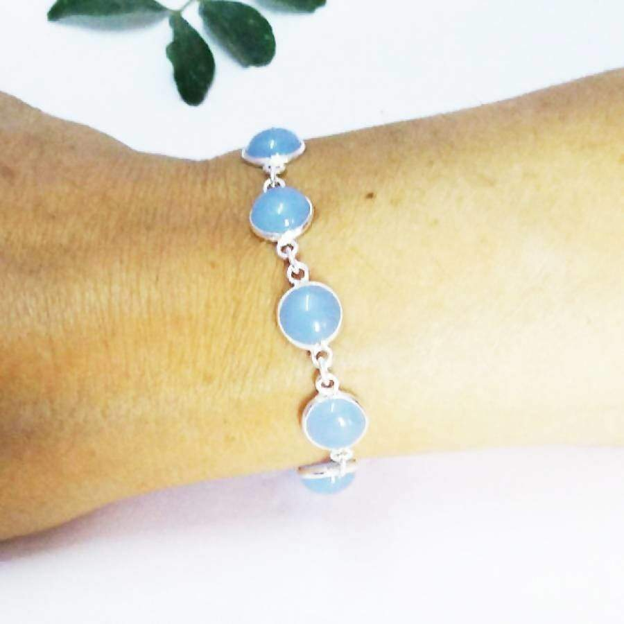 Bracelets Gorgeous NATURAL BLUE CHALCEDONY Gemstone Bracelet Birthstone 925 Sterling Silver Fashion Handmade Adjustable Size Gift - by