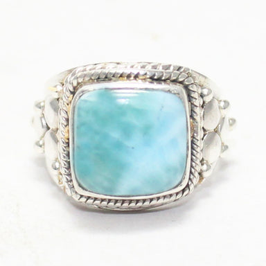 Gorgeous NATURAL DOMINICAN LARIMAR Gemstone Ring Birthstone 925 Sterling Silver Fashion Handmade Jewelry All Size Gift - by Zone