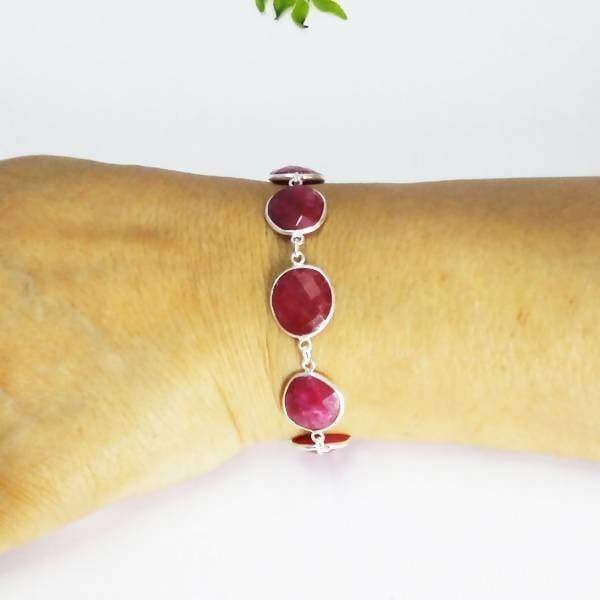 Gorgeous NATURAL INDIAN RUBY Gemstone Bracelet Birthstone Bracelet 925 Sterling Silver Bracelet Fashion Handmade Bracelet Adjustable Size