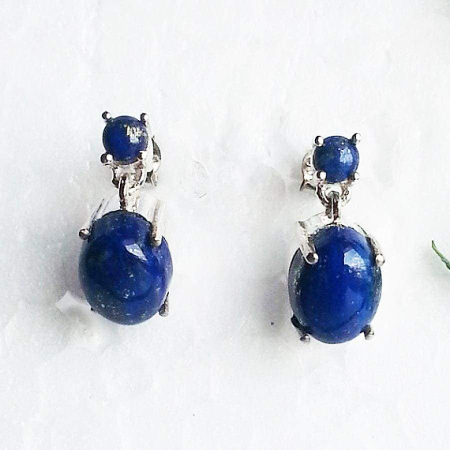 Earrings Gorgeous NATURAL LAPIS LAZULI Gemstone Birthstone 925 Sterling Silver Fashion Handmade Drop Gift