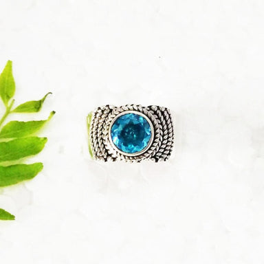 Rings Gorgeous SWISS BLUE TOPAZ Gemstone Ring Birthstone 925 Sterling Silver Fashion Handmade All Size Gift