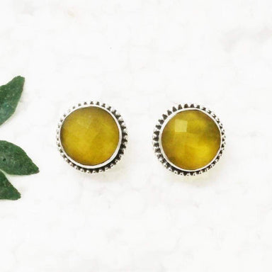 Earrings Gorgeous YELLOW ONYX Gemstone Birthstone 925 Sterling Silver Fashion Handmade Stud Gift