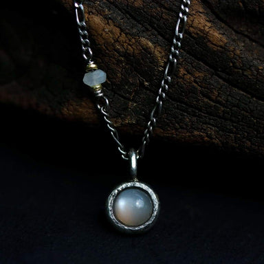Tiny round gray moonstone pendant necklace with oxidized sterling silver chain - by Metal Studio Jewelry