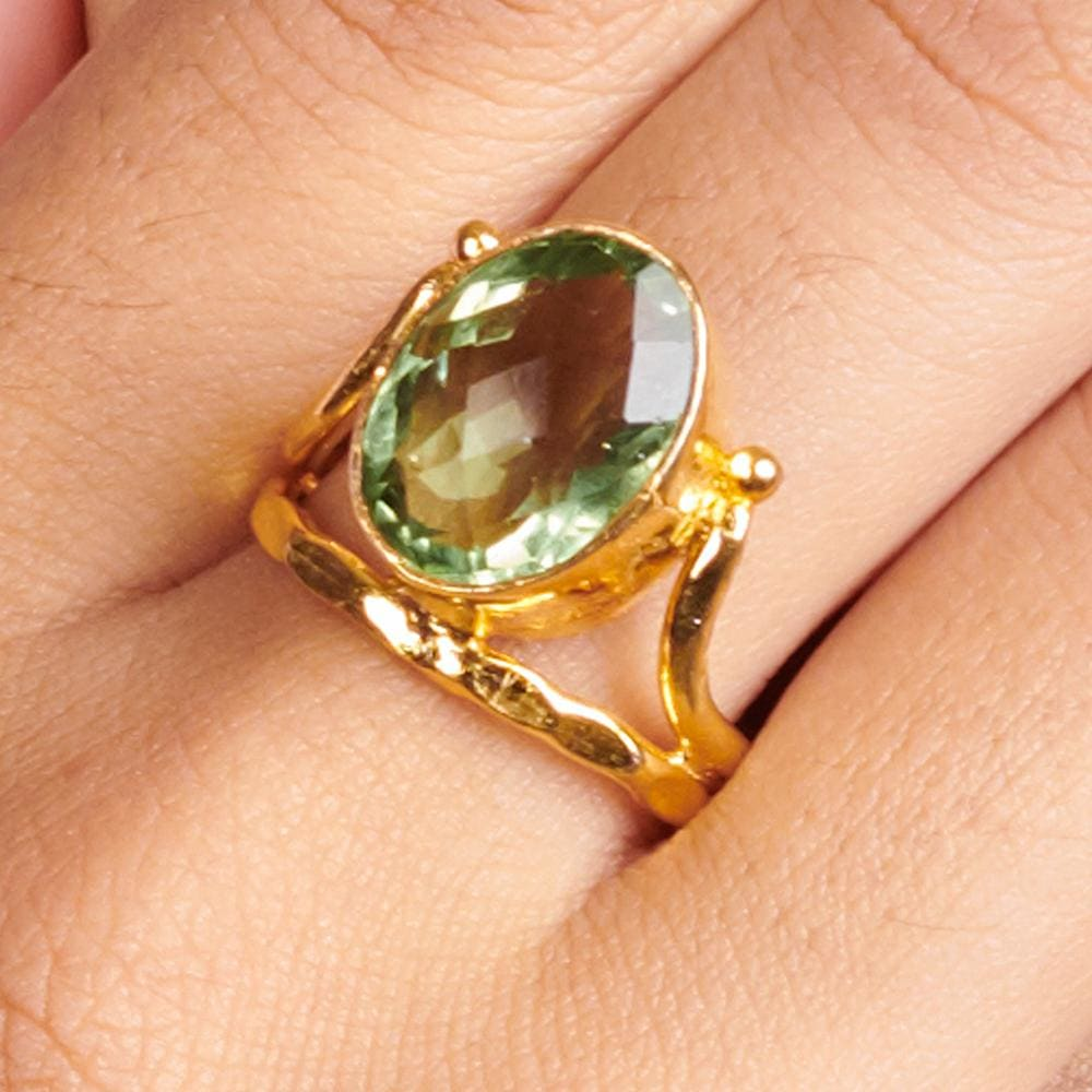 Rings Green Amethyst 925 Sterling Silver 18K Yellow Gold Rose Filled Ring Handmade in India Gift Jewelry Gemstone - by Subham Jewels