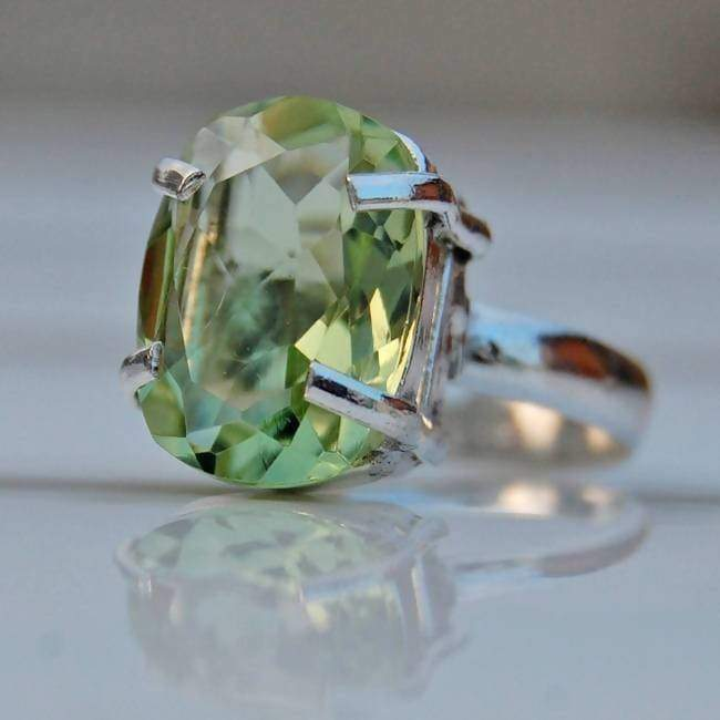 Green Amethyst Cushion Cut Silver Ring - Rings