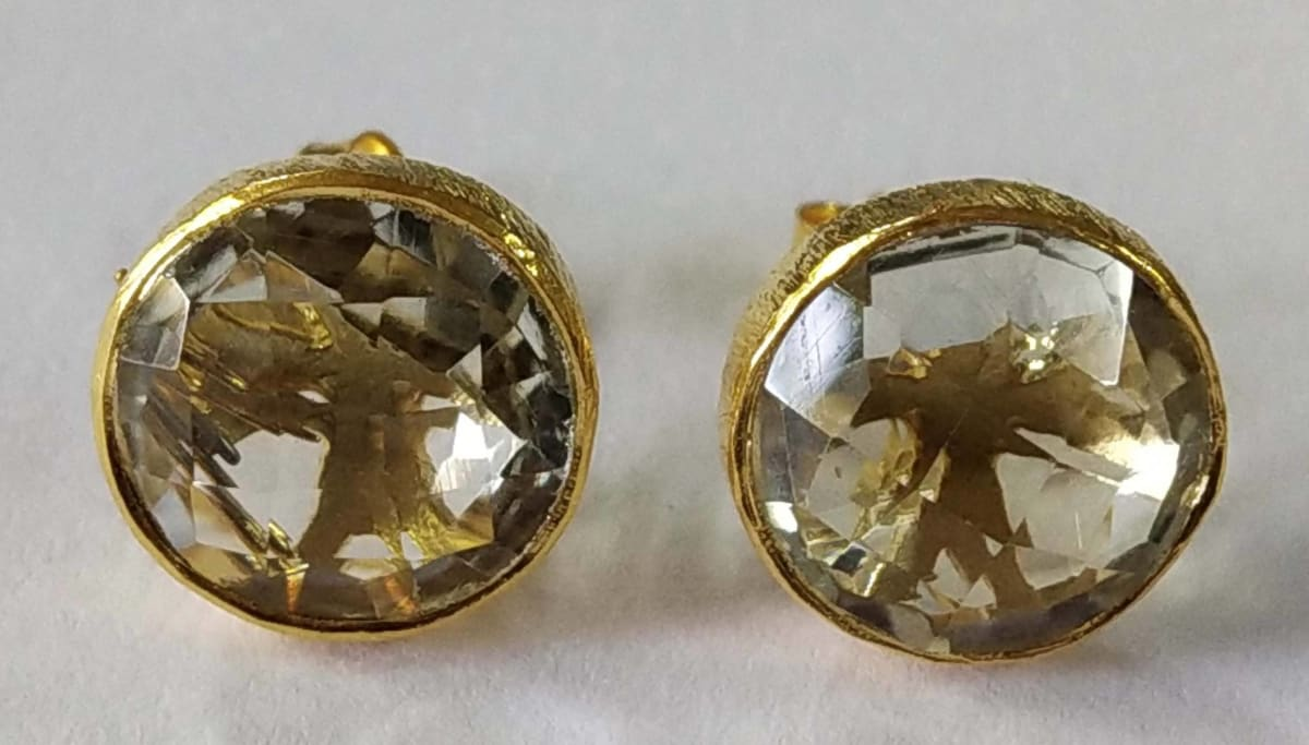 Earrings Green Amethyst Round Stud Sterling Silver 18crt Gold Plated - by TJ GEMS