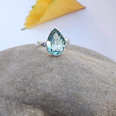 Green Apatite Drop Silver Ring - Rings