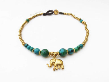 Anklets Green Chrysocolla stone anklet with brass beads bell elephant on dark brown wax cord blue green gold