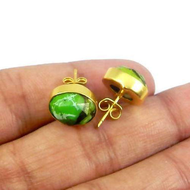 Earrings Green Copper Mohave Turquoise Gold Plated Bezel Set Stud Earring