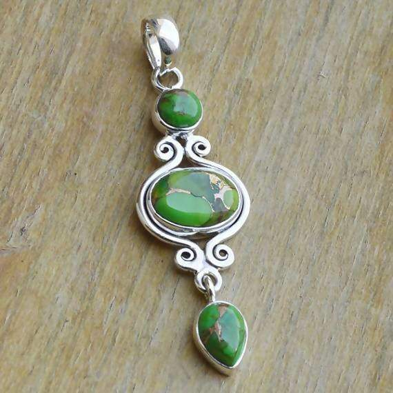 Necklaces Green Copper Turquoise Pendant Bezel set in Sterling Silver Precious Gemstone Jewelry Chain Necklace