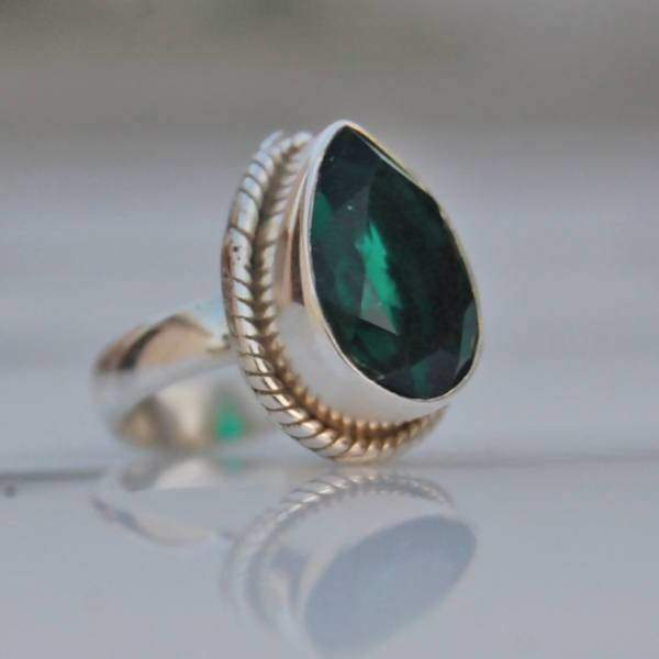 Green Dioptase Stone Silver Drop Ring - Rings