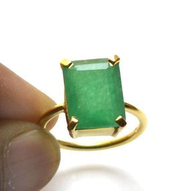 Rings Green Emerald Gemstone Ring 925 Sterling Silver Jewelry 22K Yellow Gold Filled Rose Handmade