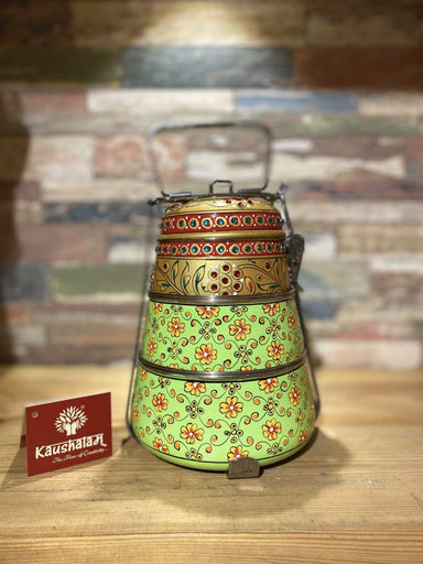 kitchen & dining Hand Painted 3 Tier Steel Lunch Box- Indian-style tiffin carrier Bombay Dabba Box - by Mrinalika Jain