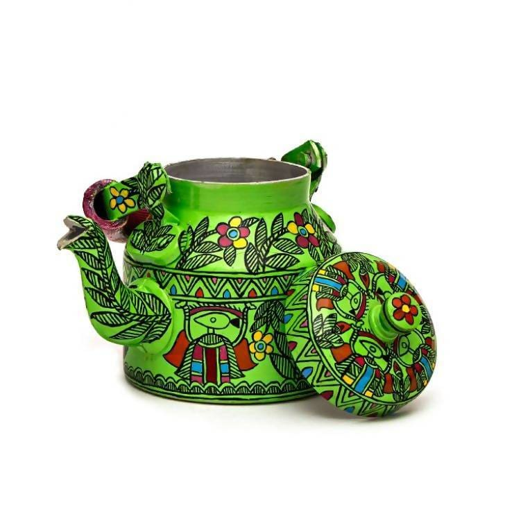 Painted Teapots Green Hand Tea Pot in Aluminium