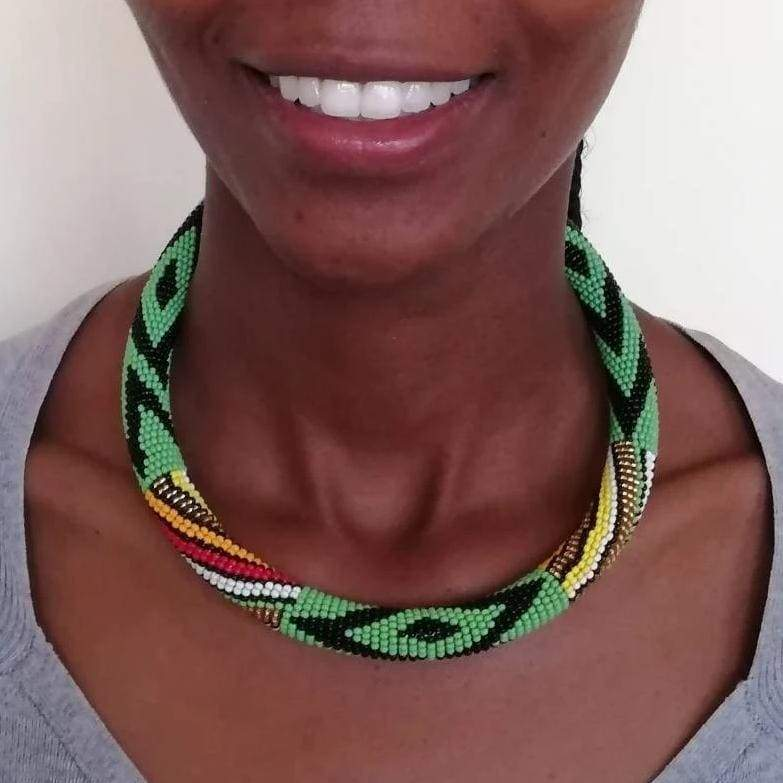Necklaces Elegant Green Maasai Beaded Necklace in Unique Design - by Naruki Crafts