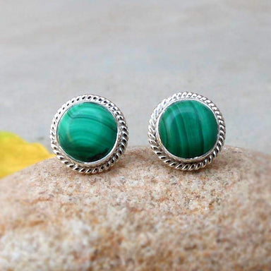 Earrings Green Malachite Stud Gemstone Sterling Silver Studs Handmade Jewelry Rope Edged Post Style