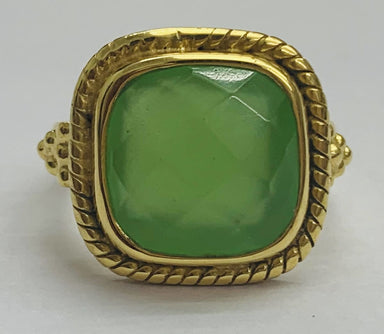 Rings Green Mint Calci Cushion 925 Sterling Silver Ring 18K Gold Plated - by TJ GEMS