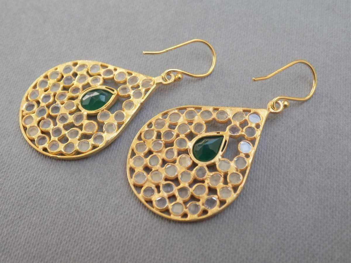 Earrings green onyx & crystal Gold plated Plated Sterling Silver Genuine Gemstone Jewelry