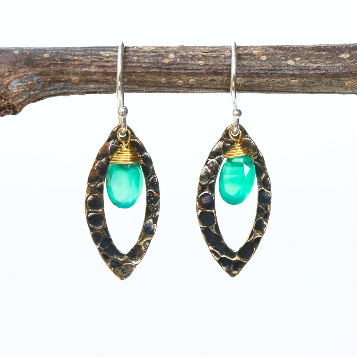 Green onyx earrings and oxidized brass marquis shape in hammer textured on sterling silver hook style - by Metal Studio Jewelry