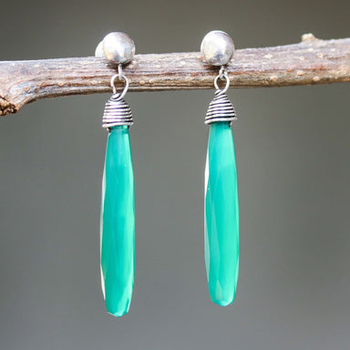 Green onyx faceted earrings with silver wire wrapped on sterling post style - by Metal Studio Jewelry