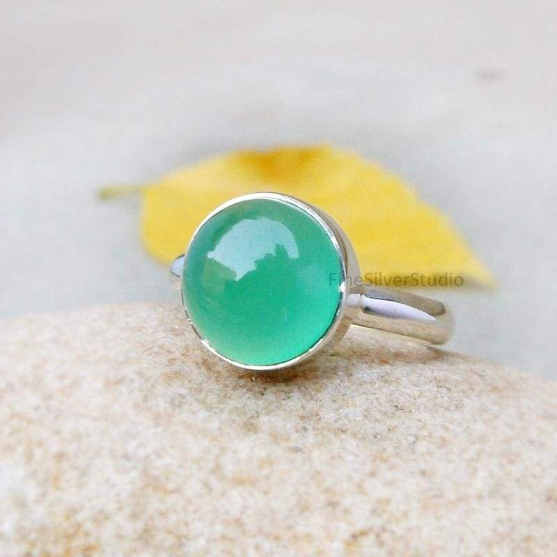 S. Handmade Sterling Silver and Green Onyx Stacking Ring.Size U.K