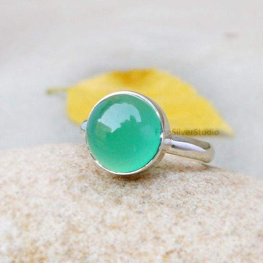 Rings Green onyx ring Simple Ring Onyx cabochon 925 Sterling silver Artisan Jewelry