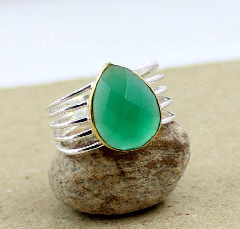 Rings Green Onyx Ring Two Tone Designer ring Gift for Her