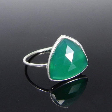 Rings Green Onyx Trillion Gemstone Silver Bezel Ring - Stone - Handmade Jewelry