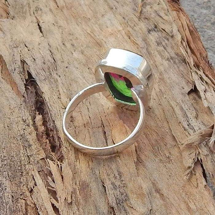 Green Pink Tourmaline Quartz Gemstone Solid 925 Sterling silver Ring 22K Yellow Gold Filled Rose