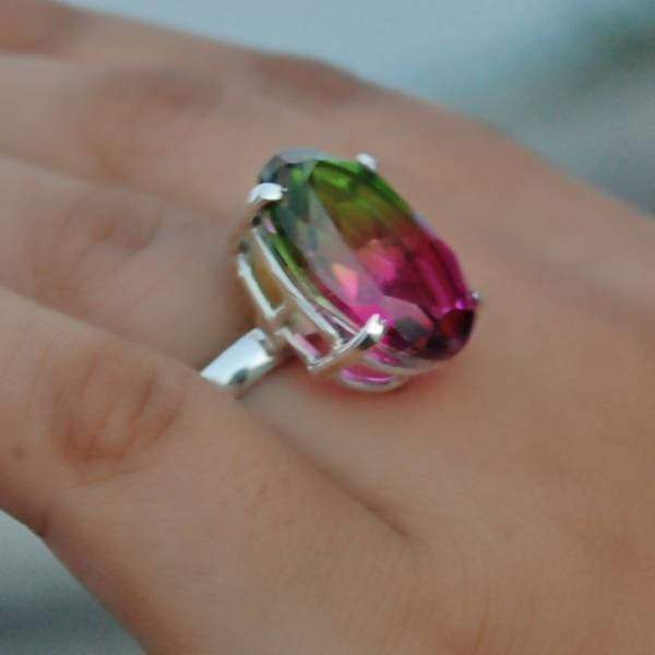Green and Pink Tourmaline Silver Oval Ring - Rings