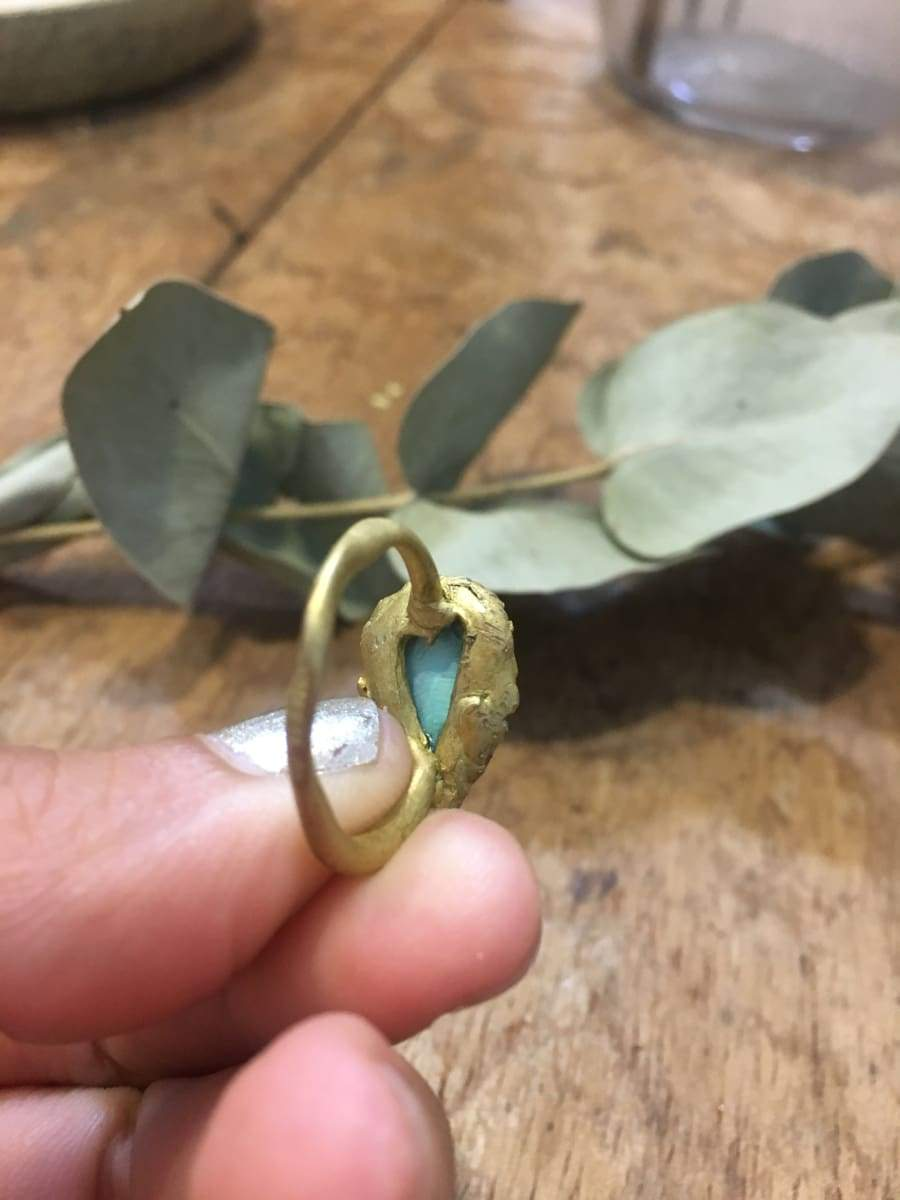 Rings green stone ring brass rustic linker real stones turquoise quartz perfect gift for her one of a kind organic