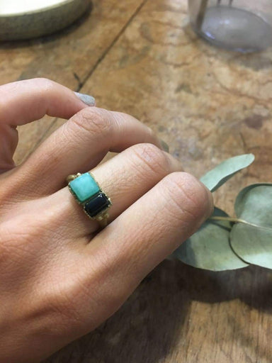 Rings green stone ring healing hand made gift for a special friend organic linker 4th chakra