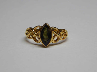 Rings Green Tourmaline Genuine Gemstone Sterling Silver Old Plated Golden Vermeil