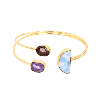 Half Moon Style Larimar And Amethyst Gemstone Elegant Cuff Bangle