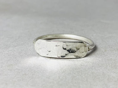 Hammered Ring Sterling Silver 925 Handmade Boho Flat-Bar Simple Woman Jewelry for Her - by Heaven