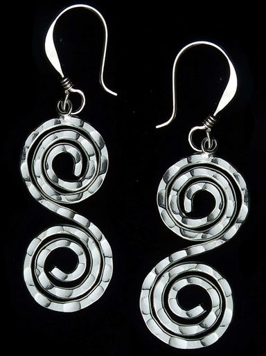 Hammered Spiral Silver Overlay Earrings - by Artesanas Campesinas