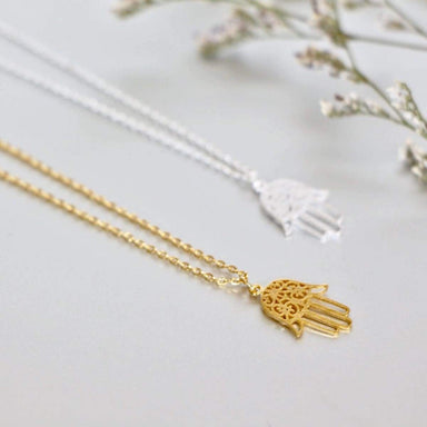 Necklaces Hamsa Necklace Set Gold And Rhodium Charm Dipped Minimalist Gift (SN101/102)