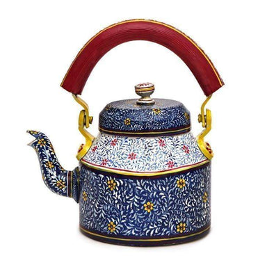Painted Teapots Hand Blue Bliss Tea Pot in Aluminium