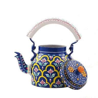 Painted Teapots Hand Blue Kaushalam Tea Pot in Aluminium