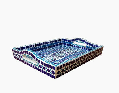 Kitchen & Dining Hand Painted Blue Mosaic Art Tray in White Cement