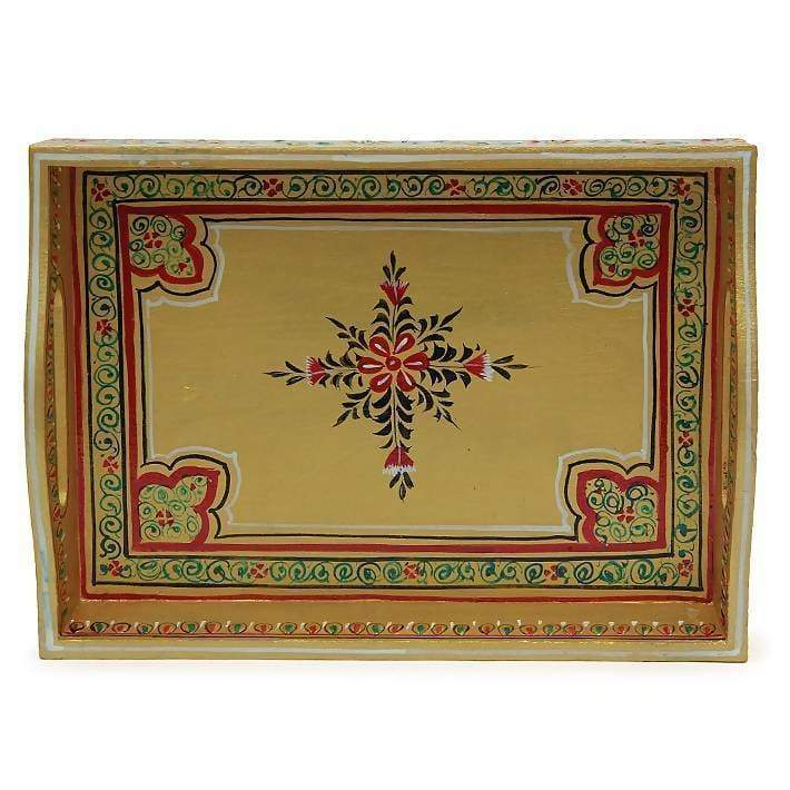 Kitchen & Dining Hand Painted Golden Tray in Wood