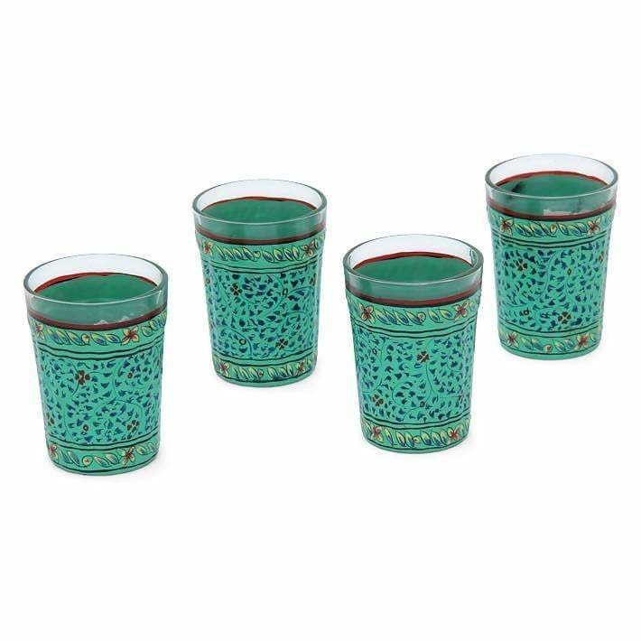 Kitchen & Dining Hand Painted Green Set of Four Tea Glasses in Glass