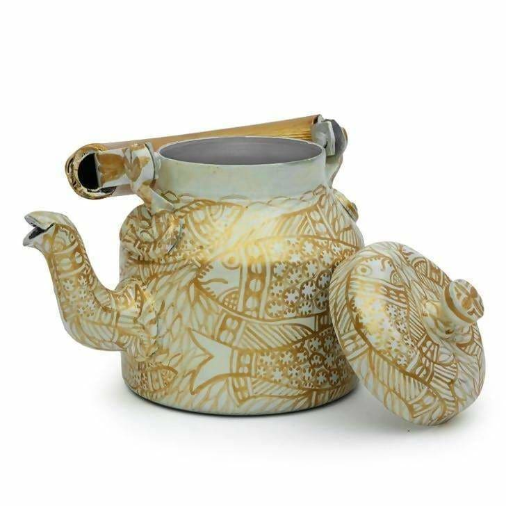 Painted Teapots Handcrafted Kaushalam Teapot: Golden Pond