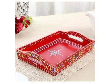 Kitchen & Dining Hand-Painted Tray In Red