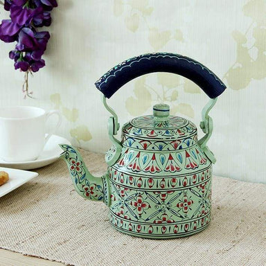 Painted Teapots Hand Mint Green Tea Pot in Aluminium
