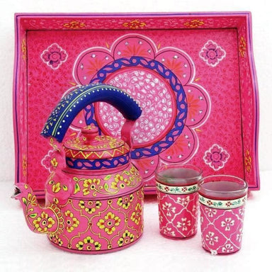 kitchen & dining Hand Painted Tea set with tray 2 Glasses in Fuchsia - Title by Mrinalika Jain